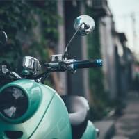 Vintage green scooter
