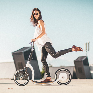 Woman rides the Smart Ped